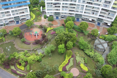 Looking down to the playground and green space