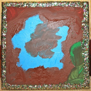 Oliver's masterpiece - blue flower on brown background