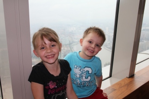 Kids with one of the views from our Brunch