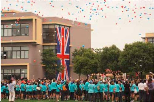 More Balloons.  Huge British flag on display too......