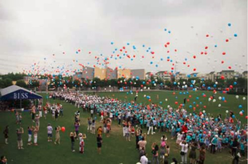 Over 1000 Red, White and Blue Balloons were released!