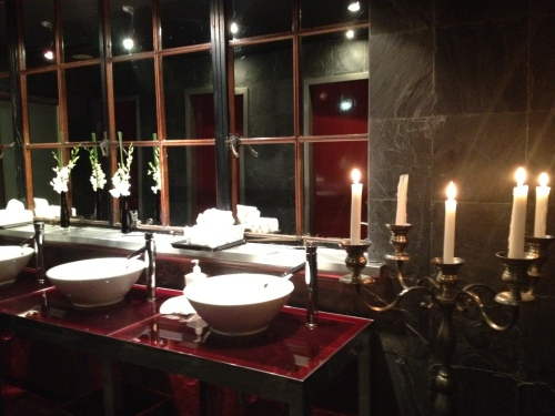 Fancy Toilets!  Love the Candelabra!