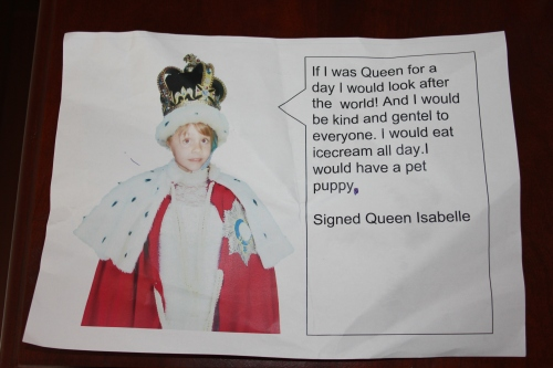 If I was Queen for the Day, by Isabelle