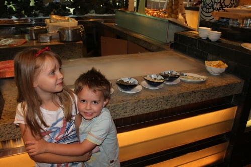 The kids were mesmerized by the dry ice at the Seafood station
