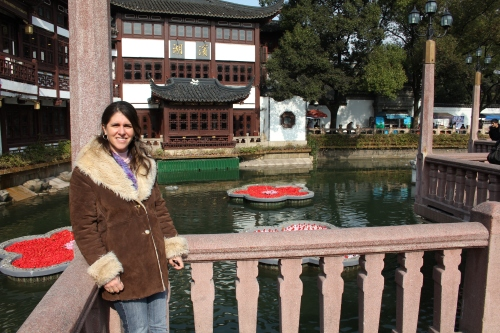 Sara at the Yu Gardens (Look/See trip in December 2011)