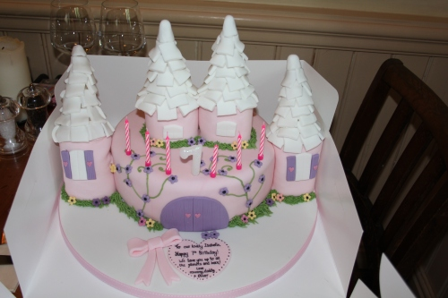 Princess castle cake for the birthday princess