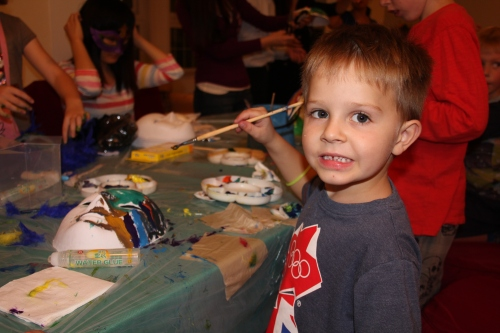 Oliver creating his masterpiece mask