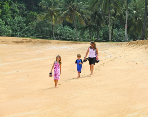 Walking on the empty beach - our footprints were the only ones there.