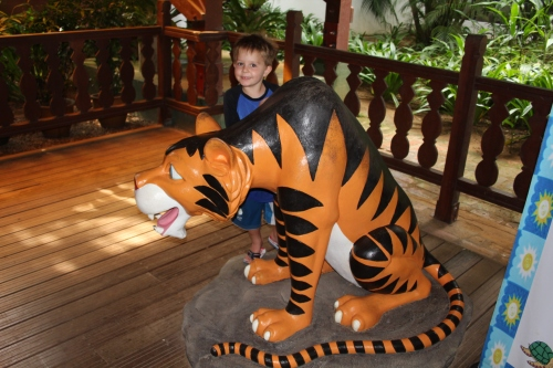 There were tigers everywhere to scare the monkeys!