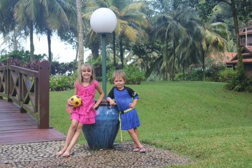 Isabelle and Oliver in the grounds of Club Med