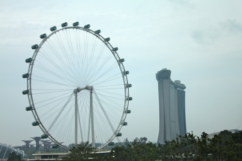 The Marina Bay Sands Hotel and Largest Ferris Wheel in the world.