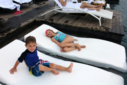 Chillaxing on the water sun beds!