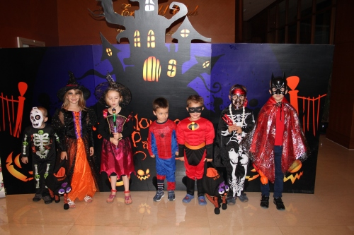 Kids and friends at Emerald Halloween Party
