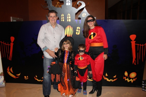 Owen (not in costume), Isabelle the witch, Oliver and Sara
