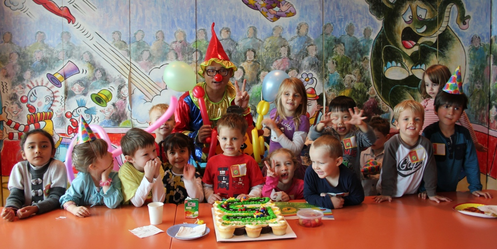 Oliver with all his friends at his party.