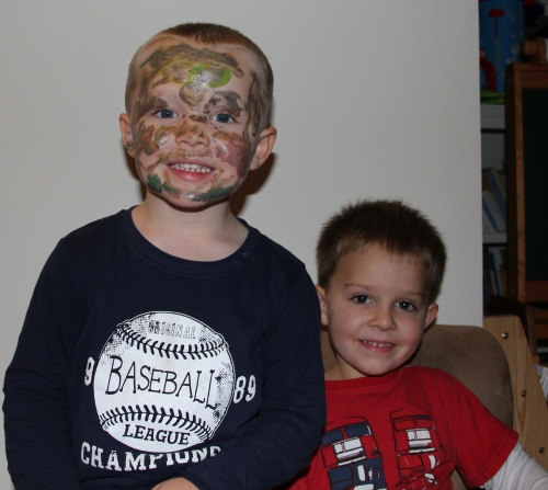 Oliver's artwork on Ethan's face
