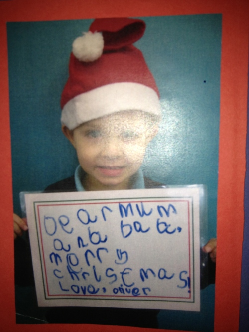 The inside of Oliver's Christmas Card.