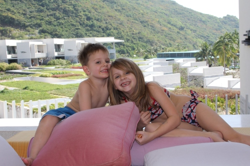 Oliver & Isabelle on the balcony of our hotel room - it had a double lounger!