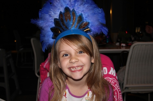 Isabelle with her New Year's Eve hat on.