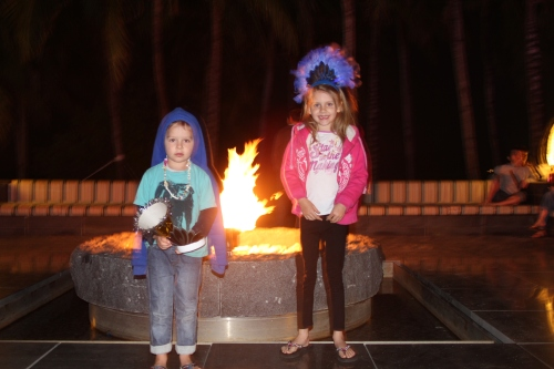 Walking back to our hotel room after New Year's Eve dinner.  We stopped by the fire pit.....