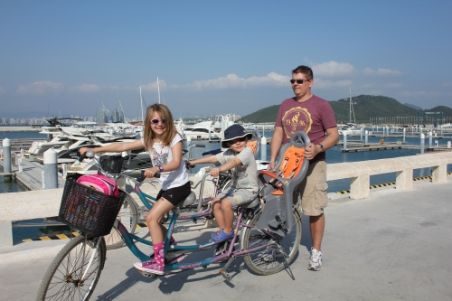We took 2 tandem bikes to the other side of the bay to check out the Marina.  This was the only time we ventured out of the resort!