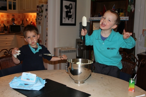 "Oliver and Ethan ""helping"" Owen with making Marshmallows."