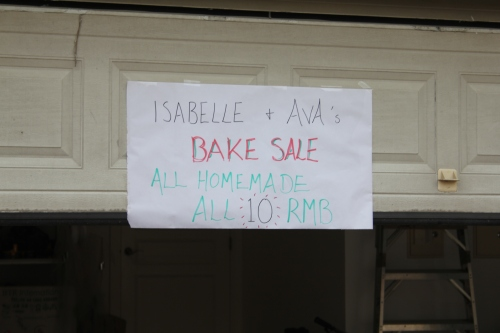 Advertising Isabelle and Ava's Bake Sale!