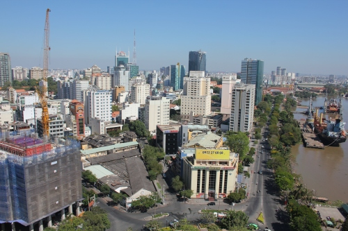 View from the rooftop pool area - across down town HCMC!