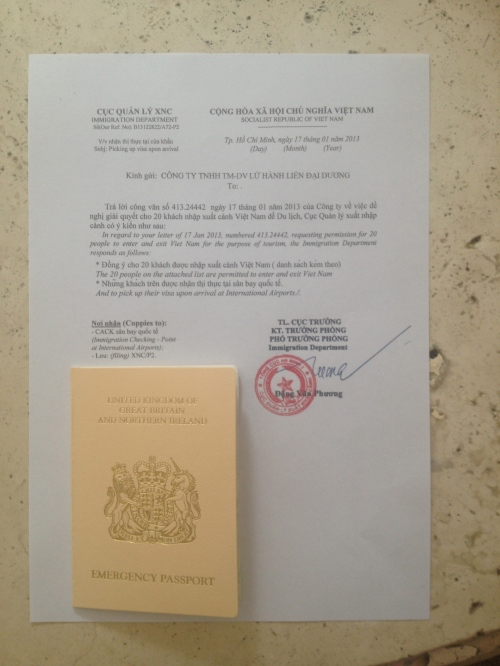 Friday afternoon and I have the emergency passport and Visa-on-Arrival approval!  Less than 24 hours before travel time!