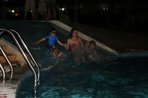 Nighttime swimming was a first for Isabelle and Oliver and they loved it.