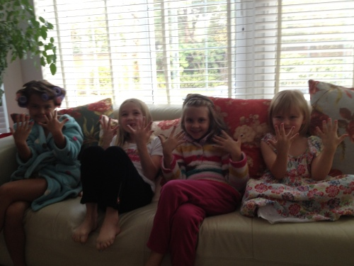 All the girls displaying the finished effect!  Maddie (with curlers in!), Ava, Isabelle and Amelie.