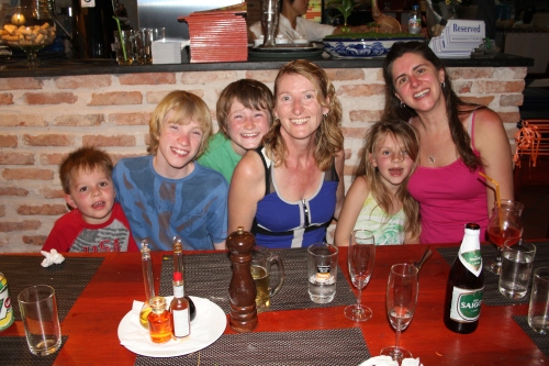 Oliver,  Dan, Luke, Jenny Isabelle and Sara.  Great Italian dinner in Mui Ne.