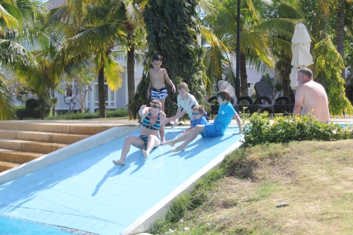The slides were fun for everyone.
