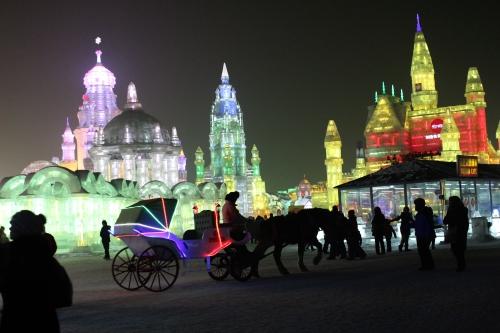 Even the transportation around the park was lit up!