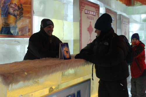 Owen and John inside an Ice Bar.