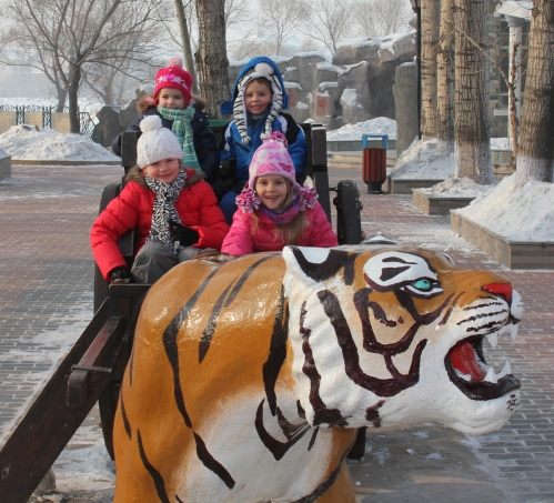 Riding in the tiger cart