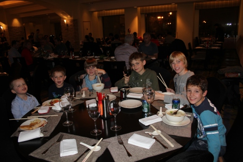 The boys at Dinner