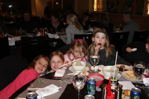 The Girls table - Maddie, Lia, Isabelle and Ava.  Seren and Amelie are missing from this photo.