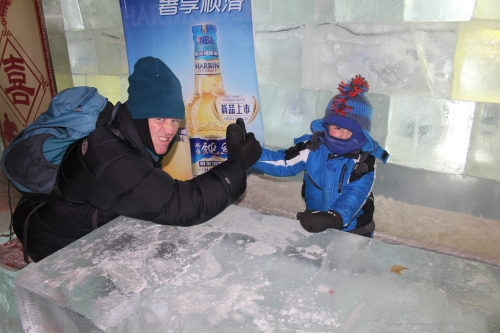 John playing with Oliver in the Ice Bar