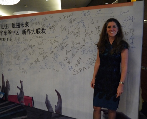 Signing the board (bottom left)