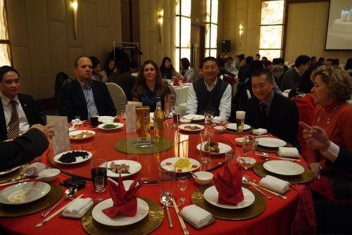 "The ""Red"" table - many courses over the evening and many toasts!"