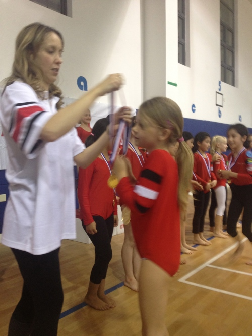 Receiving her medal!