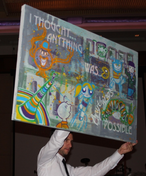 A bid going on display at the live auction during dinner.