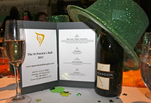 Menu, champers and hat