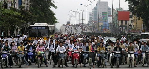 My memory of the 2 wheeled vehicles that dominate the roads in Vietnam!  They are everywhere and in such huge volume.