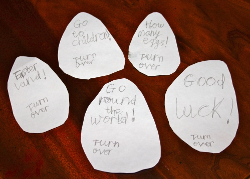 Isabelle's Easter Notes for the Easter Bunny.