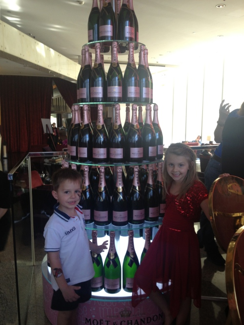 """Check out this Champagne Tower, Mum"""
