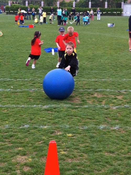 Oliver was very creative with this one as he discovered that it would go further if he kicked it rather than push it!