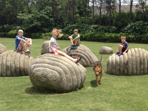 Dan, Isabelle, Luke, Tetley and Oliver - climbing all over  1 of the sculpture displays.