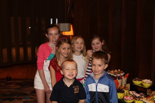 Georgia, Isabelle, Ava, Saskia, Ethan and Oliver at the children's area of brunch.